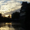 富山城と夕暮れ。
