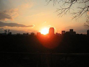 大阪城から見る夕陽